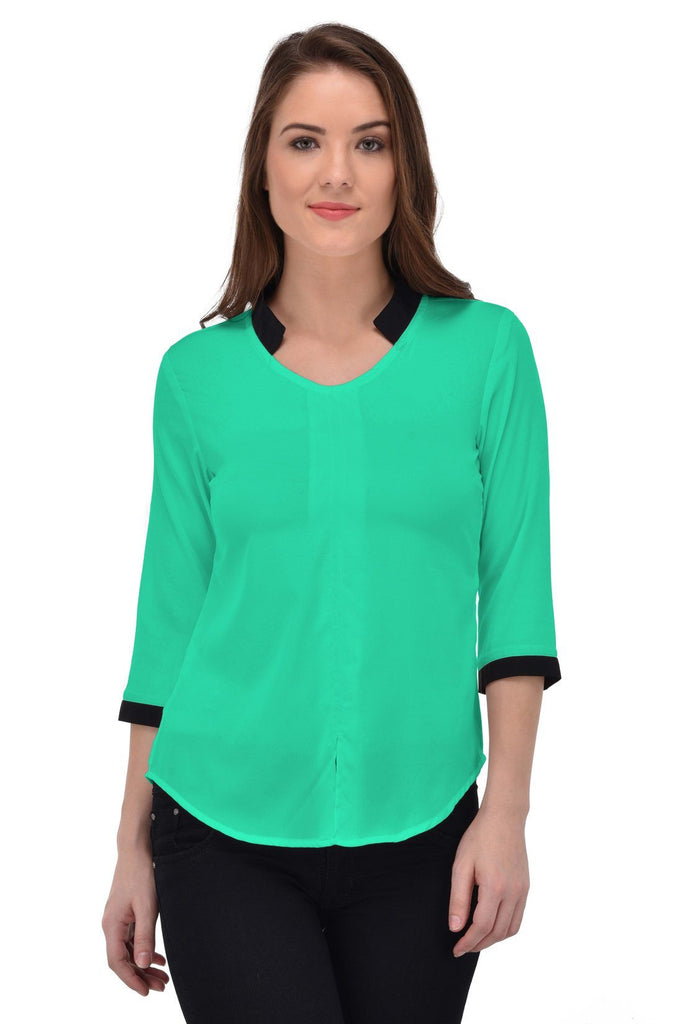 Femninora Women'S 3/4Th Sleeve Party/Casual Wear Aruba Green Color Top