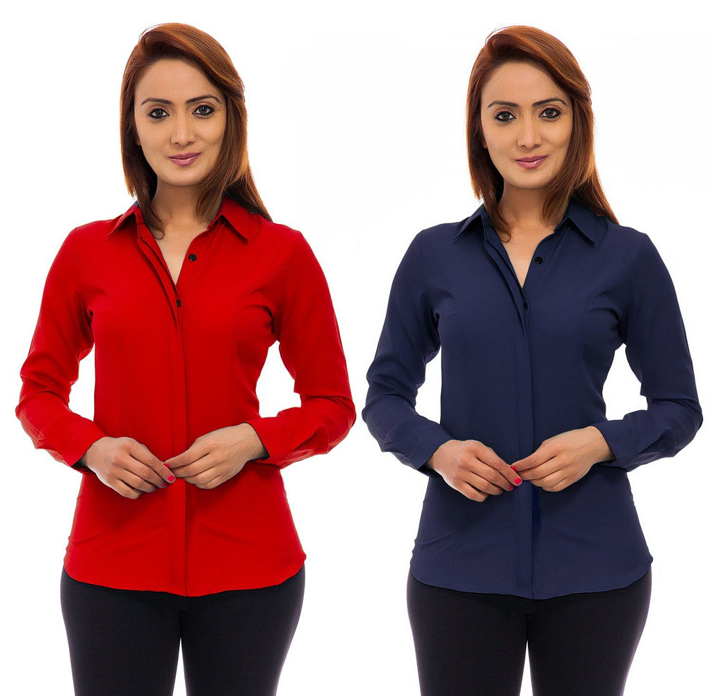 Femninora Women's Full Sleeve Formal Shirt Combo