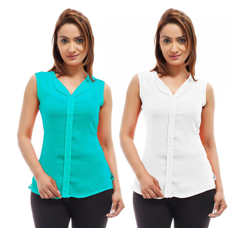Femninora Women's Sleeveless Casual Top Combo
