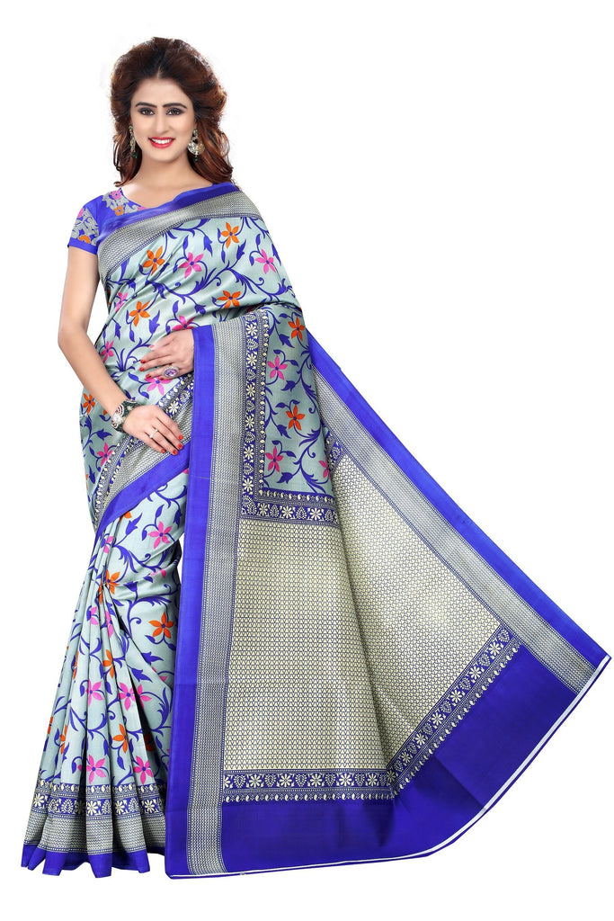 Florence Blue Art Silk Printed Saree With Blouse(FL-PT-2N8A2012)