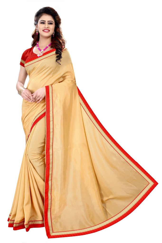 Florence Brown Poly Crepe Plain Saree With Blouse(FL-PT-2N8A6553)