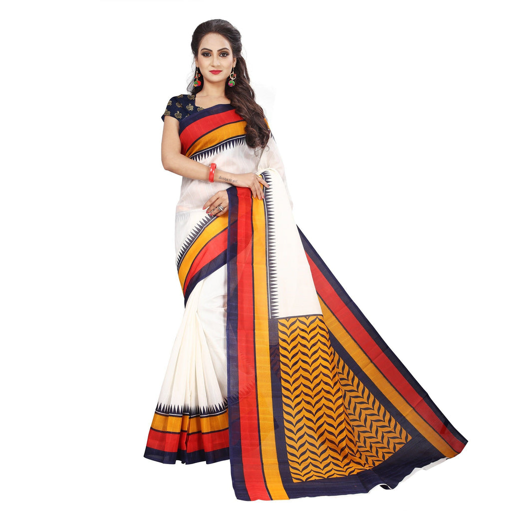 Florence Cream Georgette Printed Saree With Blouse(FL-PT-F-BS012)