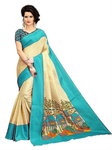 Florence Cream Poly Silk Printed Saree With Blouse(FL-PT-House02)