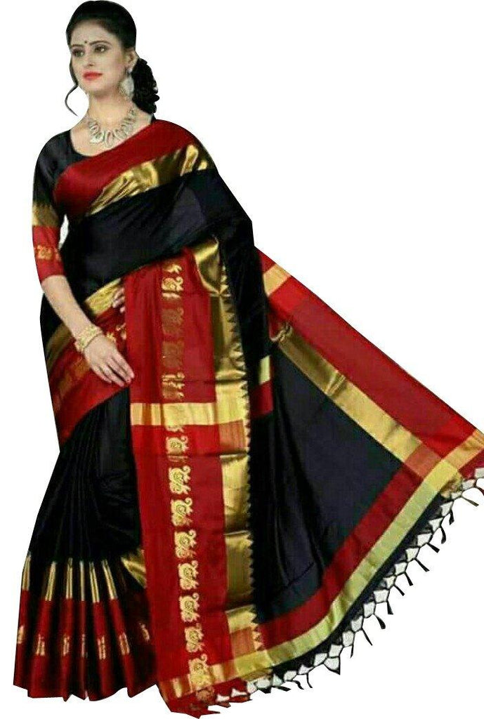 Florence Black Poly Silk Plain Saree With Blouse(FL-PT-P09)
