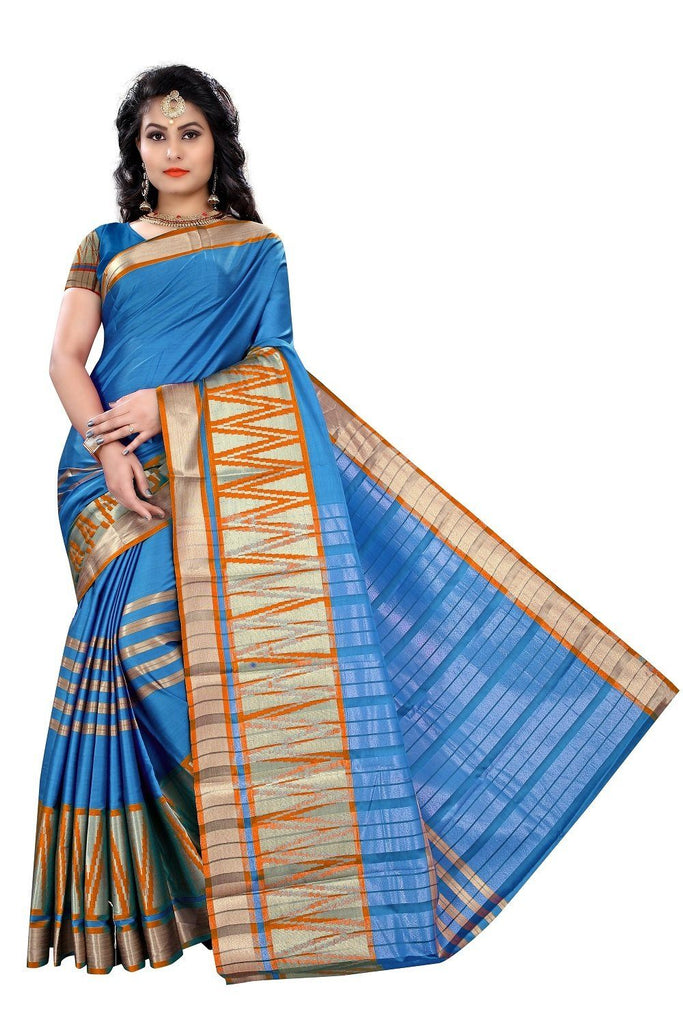 Florence Blue Poly Silk Plain Saree With Blouse(FL-PT-SN)