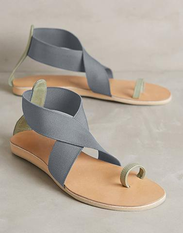 Grey Cross-Strap Flats