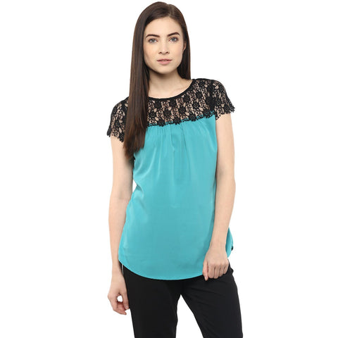 Turquoise Blue and Black Crepe Cap Solid Top