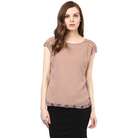 Beige Cap Sleeve Solid Top