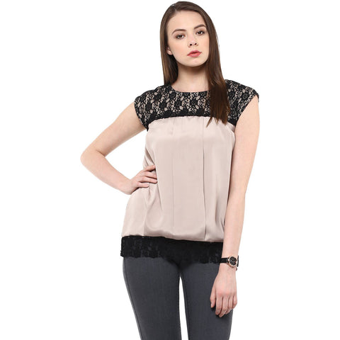 Black And Beige Crepe Sleeveless Top