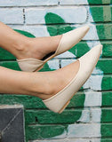 Cream Pointed Flats