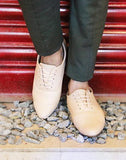 Closed Lace Beige Oxford Shoes