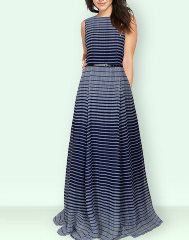 Exclusive Frills Blue Gown