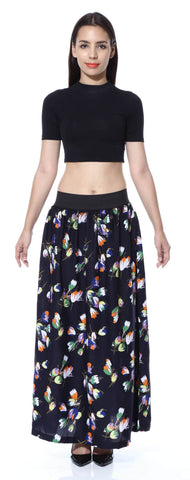 Navy Blue Multi Floral Print A line Skirt