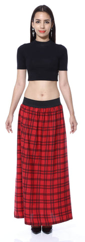 Red Check Print A line Skirt