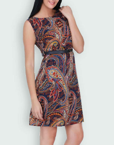 Brown PaisleyPrinted Shift Dress