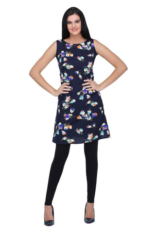 Navy Blue Multifloral Printed Shift Dress