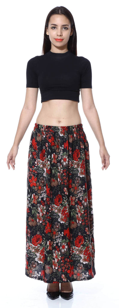 Black Floral Double Slit skirt