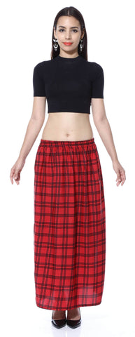 Red Check Double Slit skirt