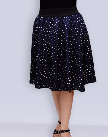 Navy Blue Knee Length Skirt with White Dots