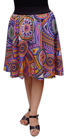 MULTICOLOR CIRCLE Print knee Length Skirt