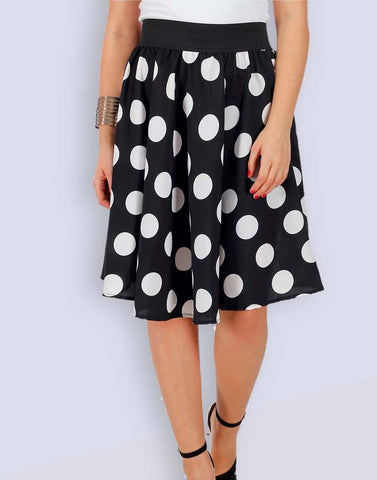 BLACK BIG POLKA Print knee Length Skirt