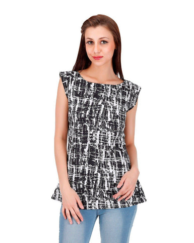 Black and white stroke Print Top