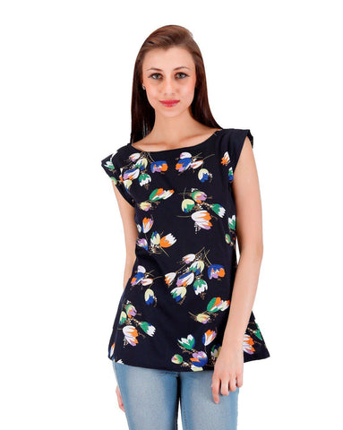 Navy blue multi floral Print Top