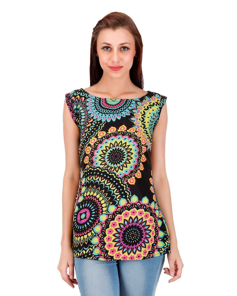 Black multi circle Print Top