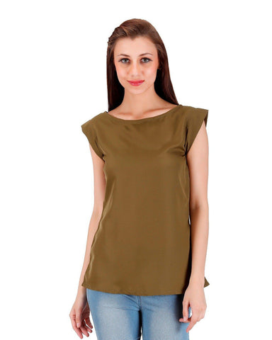 solid olive green Top