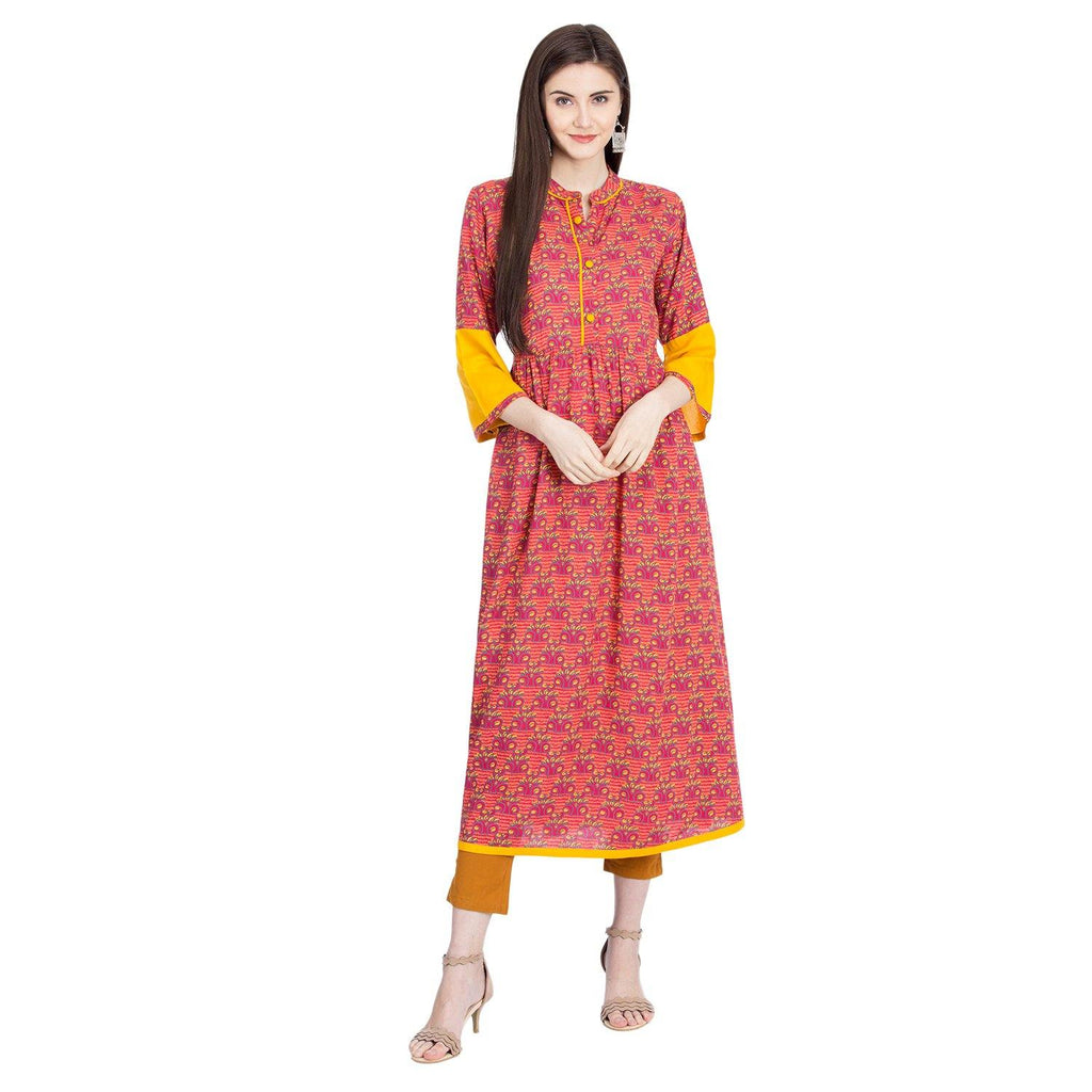 Aasiya Pink  Colored Rayon Printed Anarkali Kurta