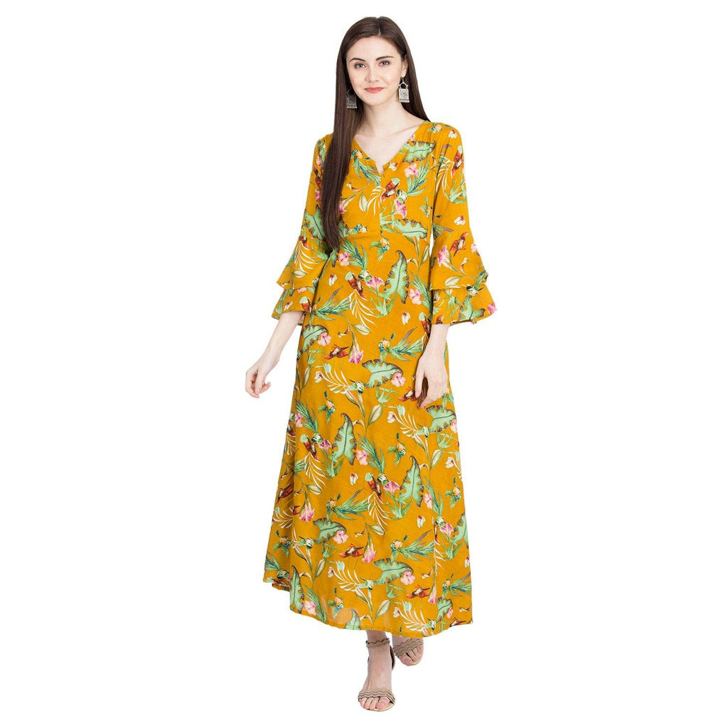 Aasiya Yellow  Colored Rayon Printed Anarkali Kurta
