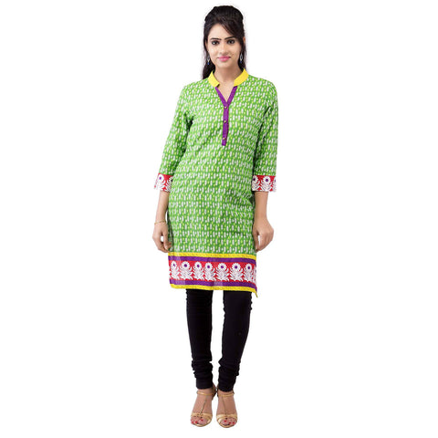 Women's Casual White Leaves Cotton Kurti