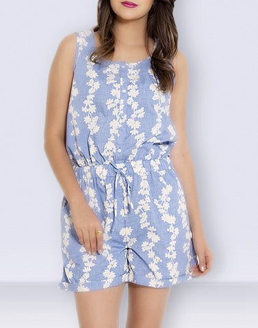 Blue Poly Cotton Jumpsuit
