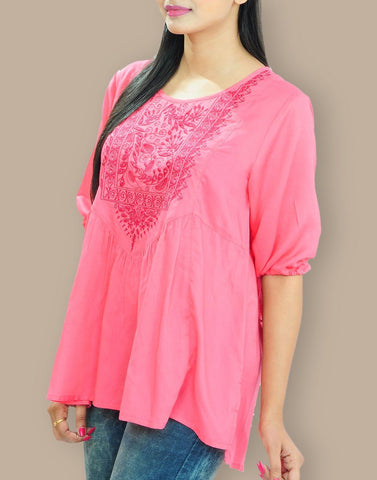 Women's Casual Wear Pink Rayon Tops