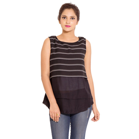 Casual Wear Black Moss Crepe Top