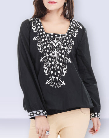 Women's Casual Wear Pretty Black Cotton Top