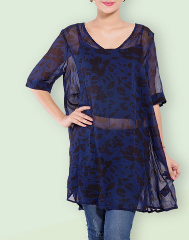 Leaf Print Georgette Tunic