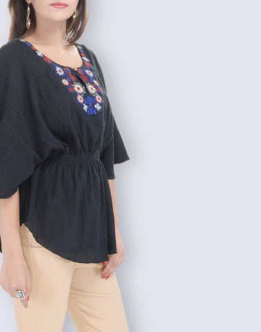 Women's Casual Wear Kaftan Look Black Cotton Top