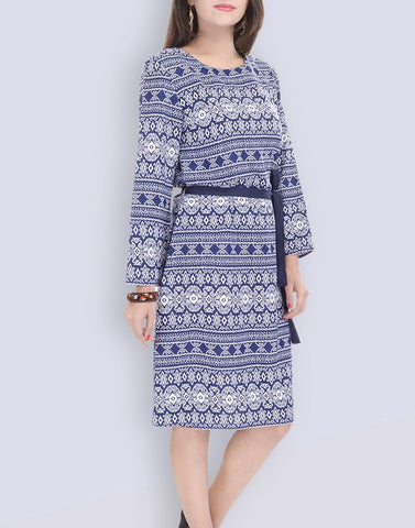 Casual Wear Blue Polyster Dress