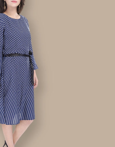 Stylish Blue Polyster Dress
