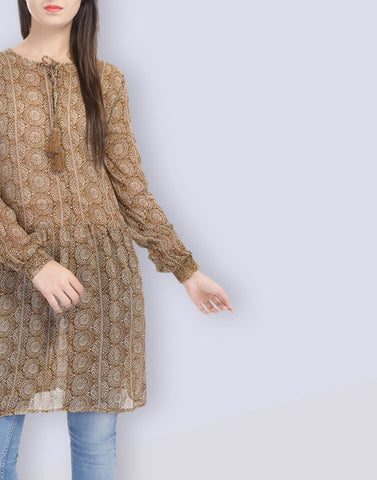Women's Casual Wear Mustard Georgette Tunic