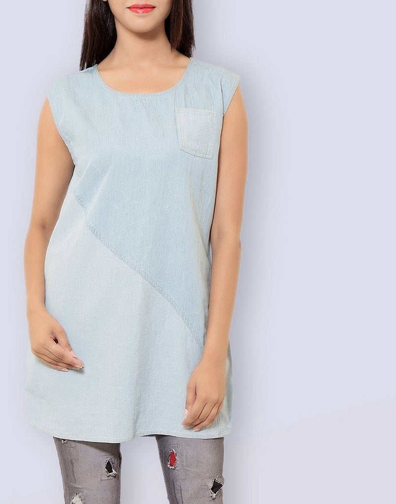 Women's Casual Wear Sleeveless Solid Light Blue Tunic