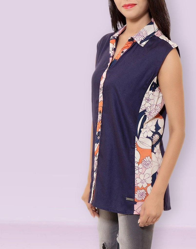 Women's Casual Wear Sleeveless Solid Navy Rayon Top