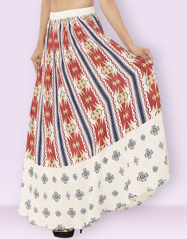 Women's Casual Wear Printed Multicolor Cotton Skirt