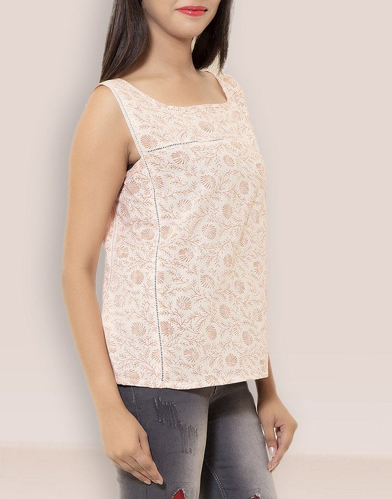 Women's Casual Wear Printed Off-White Cotton Top