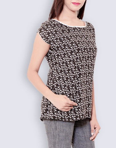 Women's Casual Wear Printed Black Rayon Top