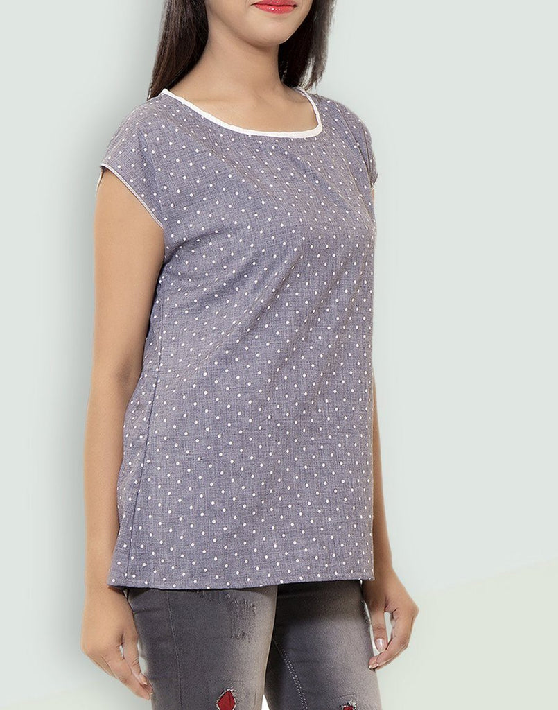Women's Casual Wear Printed Grey Cotton Top