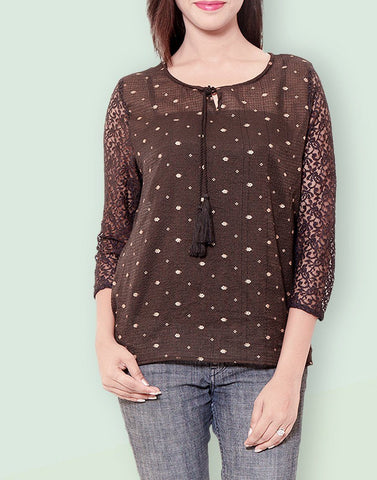 Casual Printed Brown Kota Doria Top