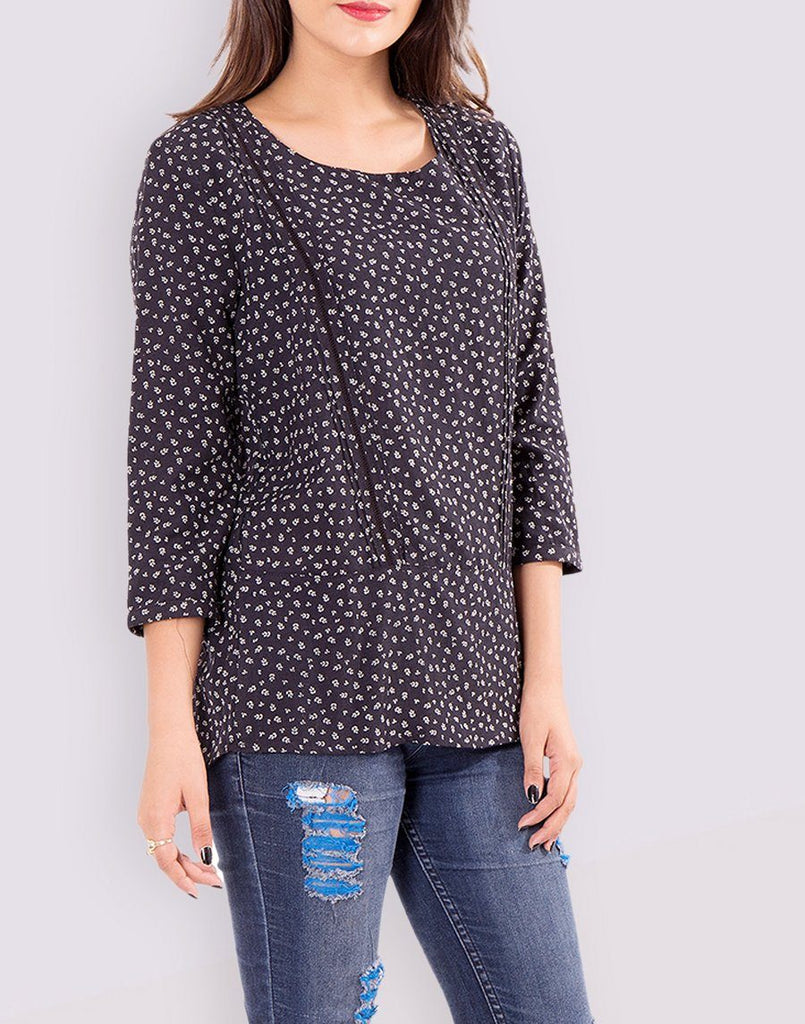 Printed Black Cotton Top