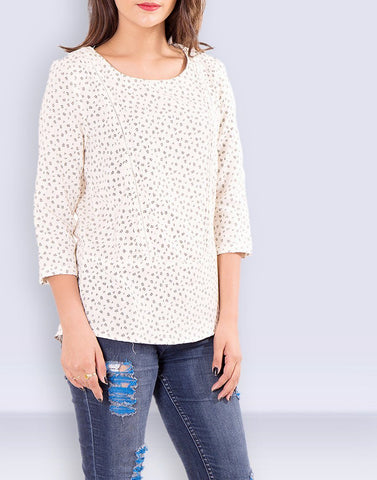 Women's Caual Wear 3/4th Sleeve Printed Off-White Cotton Top